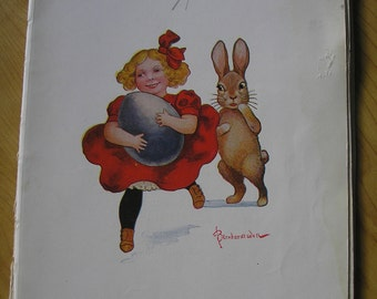 Girl with Easter Bunny and Egg