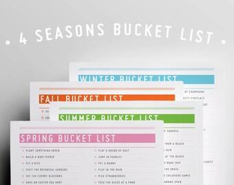 4 Season Bucket List : Instant Download / Checklist / Planner /