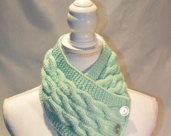 Green Cable Knitted Button Neck Warmer, Chunky Knit Cowl With Buttons