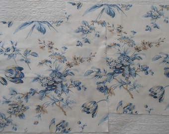 Exclusive KRAVET Blue, Off-white and Tan Floral print fabric suitable for pillow shams.  Two pieces