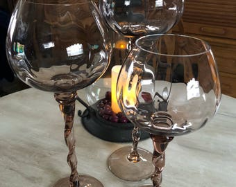 3 pc glass floating candle set