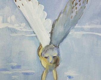 Owl in Flight  original watercolor painting