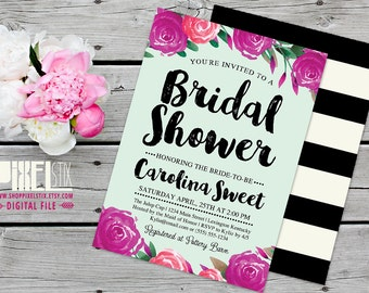 Trendy Watercolor Floral Bridal Shower Invitation - CUSTOMIZABLE PRINTABLE INVITATION - Watercolor Purple Peony Flowers with Mint