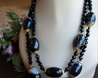 Two strand black onyx necklace