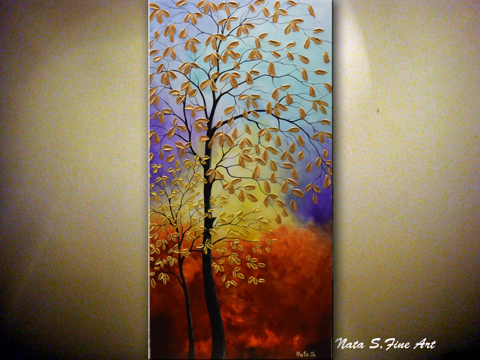 Fall Tree Painting 48 Golden Leaves Painting # Muebles Lifetime Espana