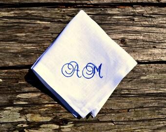 Personalized Linen Hankerchief with Initials, Monogrammed Handkerchief, White Monogram Pocket Square, Womens Hankie, Mens Linen Handkerchief