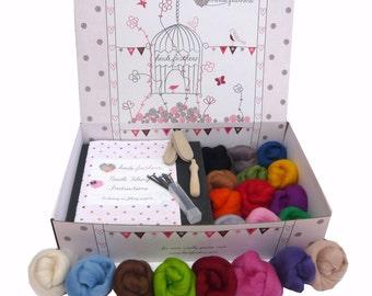 Heidifeathers Premium Boxed Needle Felting Kit - 20 Colours Merino Wool, Handle, Guards, Eyes