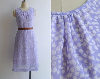Vintage 80's Lilac Purple Leaf Print Midi Dress XS or S