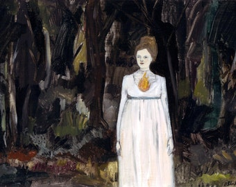 The fire in her heart led her through blackened forests - print of oil painting, wall art