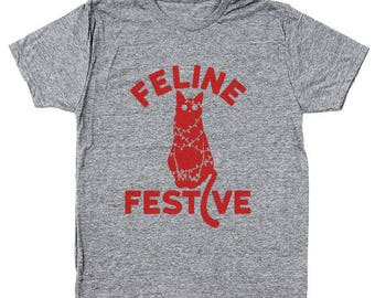 Feline Festive Funny Christmas Cat Xmas Cute Men's Tri-Blend T-Shirt DT1653