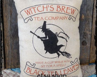 Handmade Primitive Witches Tea Halloween Feedsack Style Pillow or Panel #36