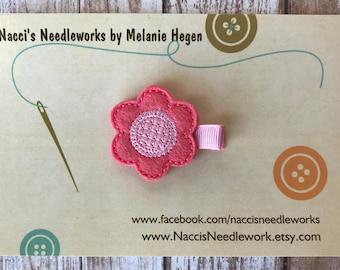 Spring Flower Hair Clip - Coral Flower with Pink Center Felt Appliqué - Flower Hair Accessory