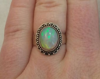 Ethiopian opal ring set in sterling silver - free shipping - size 6 - hand made - turningleafjewelryco - opal jewelry - yoga jewelry