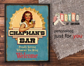 Personalised Bar Sign, Welcome Bar Plaque, Retro Style, Custom Bar Sign,  Home
