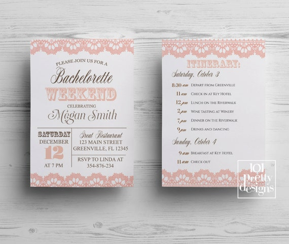 Rustic Bachelorette Party Invitation Template Printable - Party invitation template: bachelorette party itinerary template