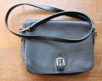 Vintage 80s/90s Black Leather Shoulder Bag Purse Handbag