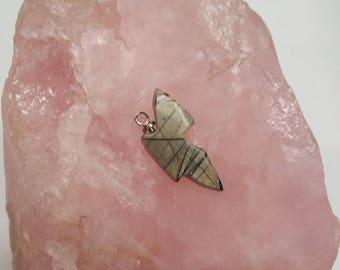 Gray Picasso Marble Butterfly Cabochon with Sterling Silver Eyehook