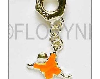 Charm Pendants: Character metal Silver Orange enamel