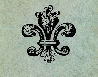 Floral Style Fleur de Lys  - Antique Style Clear Stamp