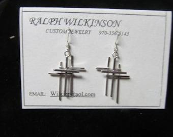 Triple Cross Earrings Sterling SilverHand Made