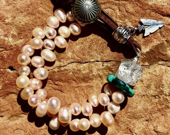 Western Concho Bracelet, Pearl and Turquoise