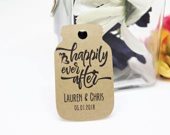 Happily ever after tags, Mason jar tags, Jar shaped tags, Wedding favor tags, Wedding thank you tags, Gift tags, Kraft paper tags, Jar tags