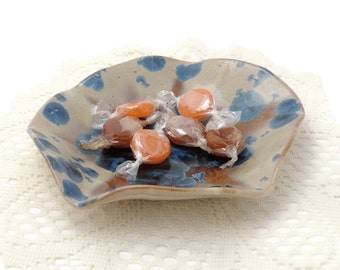Small Crystal Glazed Ceramic Free Form Plate with Blue Crystals