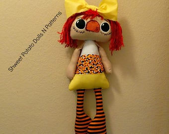 Handmade Raggedy Candy Corn Annie Shweet Potato Doll Halloween  CFCOFG Primitive