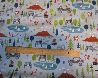 Blue Riley Blake J is for Jeep Cotton Fabric by the Yard