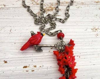 Carolina - bird necklace, long necklace, chain necklace, red jewellery, cardinal necklace, cardinal jewelry, red jewellery, bird jewelry