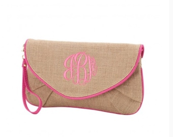 Burlap Clutch with Pink Trim