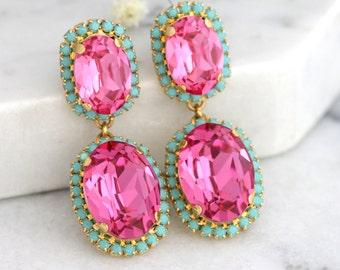 Pink Chandeliers, Pink Turquoise Earrings, Mint Pink Earrings, Swarovski Chandelier Earrings, Pink Turquoise Chandeliers,Bridal Earrings