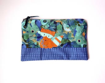 "Zipper Pouch, 5.75x9"" in blue, green, navy and brown floral print fabric with Handmade Felt Raccoon Embellishment, Raccoon Zipper Pouch"