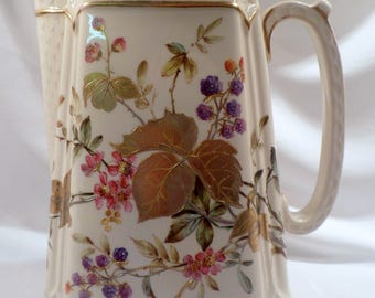 Large Copeland Spode Earthenware Pitcher, Ivory with Berries, Gilded Leaves, 1883 Registry Mark