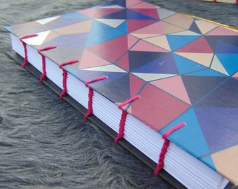 Coptic Stitch Journal | Wrapping paper Cover Pink Geometric | A5 size 22 cm x 16 cm | 192 unruled pages
