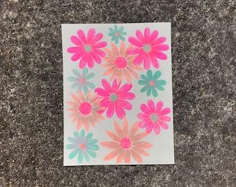 Neon Flowers No. 1 Risograph Print