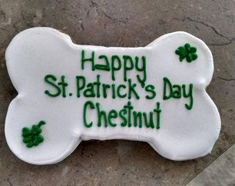 Extra Large Personalized St Patrick's day Dog Treats Jumbo Bone