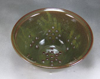 Pottery Colander Strainer Orange and Green Small Ceramic Colander or Pottery Berry Bowl Wheel Thrown Stoneware Pottery 8