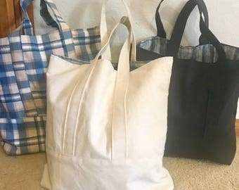 Canvas Weekender Beach Bag / Canvas Lined Tote Bag/ Large Canvas Reversible Tote / Everyday Handmade Handcrafted Canvas Tote Bag