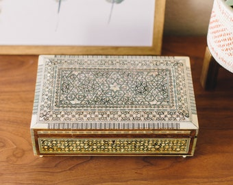 Mother of Pearl Egyptian Footed Music / Jewelry Box (includes key)