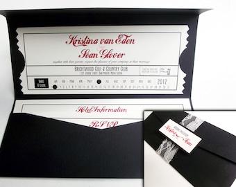Vintage Inspired Movie Ticket Wedding Invitation Set with Pocket Folder and Monogram Belly Band