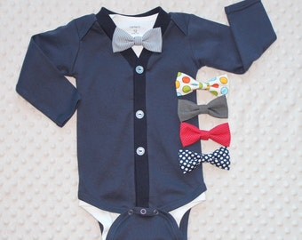 Baby Boy Cardigan and Bow Tie Set, Navy Blue, Baby Suit, Baby Tuxedo, Baby Bow Tie Outfit, Baby Boy Clothes, Preppy Baby Boy Outfit