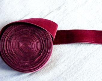 Vintage 1930's Silk Charmeuse Velvet Ribbon 1 Inch Zinfandel Wine