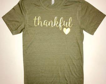 Thanksgiving Tee- Womens Thankful T-shirt- Ladies Thanksgiving Shirt- Thanksgiving Thankful T-shirt