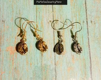 Coffee Bean earrings, coffee earrings, coffee lover