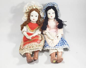 "Set of 2 Vintage 9"" Porcelain Girl Dolls Handmade Handcrafted Bonnet Country Sister Dolls Collectible Folk Art Farm House Dolls"