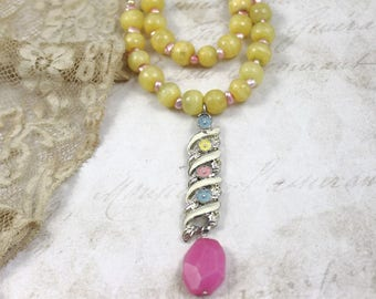 Pink and Yellow Assemblage Necklace, MultiStrand Beaded Necklace, Yellow Murano Beaded Necklace, Vintage Assemblage Pink and Yellow Necklace