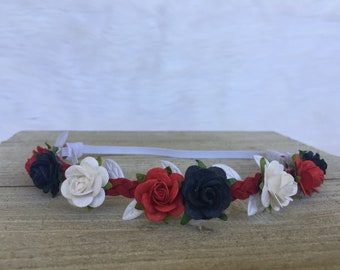 Red, White and Blue flower Crown, red white and blue flower halo, 4th of July headband, Memorial Day Headband, 4th of July flower Crown