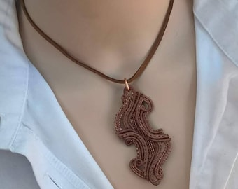 Wire pendant - equally entangled - copper/sterling silver