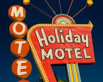 Las Vegas Holiday Motel Sign | Neon Sign Print | Googie Art | Mid Century Wall Art | Mid Century Modern Decor | Neon Sign Art | Neon Art